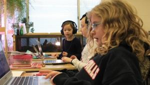 Lincoln Elementary School coding girls